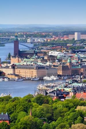 Stockholm, Schweden. Luftbild von berühmten Gamla Stan (Altstadt) und anderen Inseln, Kanälen, Sehenswürdigkeiten.