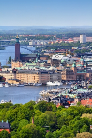 Stockholm, Sweden. Aerial view of famous Gamla Stan (the Old Town) and other islands, canals, landmarks. photo