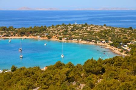 Croatia - beautiful Mediterranean coast landscape in Dalmatia. Murter island beach, Kosirina peninsula - Adriatic Sea. Kornati islands in background. Stock Photo - 18709063