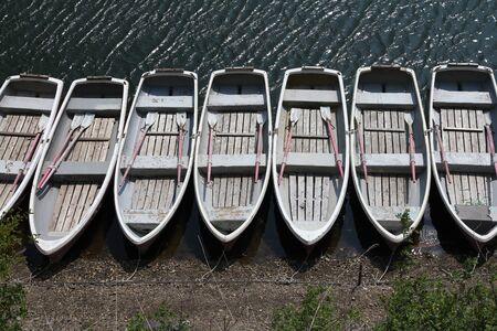 rowing boat: Fishing boats - vessels at a pier in Lake Shojiko, Japan
