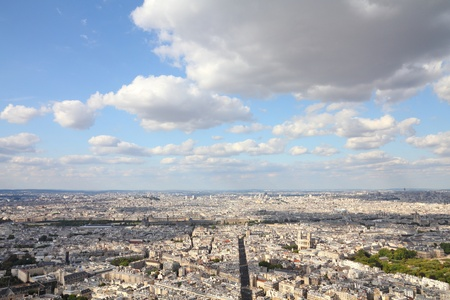 rue: Paris, France - aerial city view with Rue de Rennes street Stock Photo