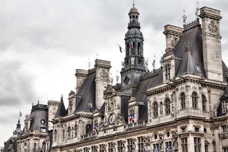 ville: Paris, France - close-up of Hotel de Ville (City Hall). UNESCO World Heritage Site.