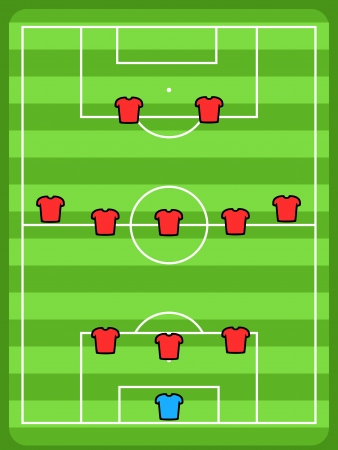 Soccer field illustration. Football tactics and strategy - popular 3-5-2 team formation.