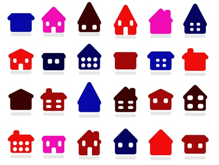 Home icon set - colorful house rounded icon collection. Illustration group. Private residential architecture. Vector