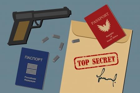 espionaje: Documentos secretos, pasaportes falsos, armas y balas - objetos de espionaje e ilustraci�n de equipo de espionaje