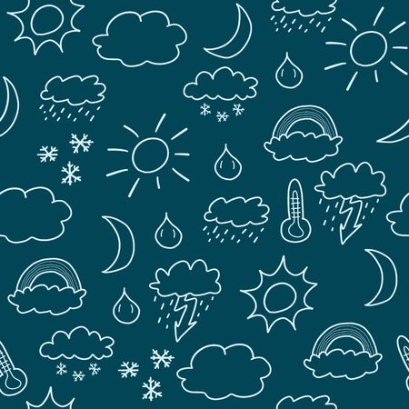 Doodle seamless background texture illustration - weather symbols collection with suns, clouds, storms and snow Stock Vector - 18930675