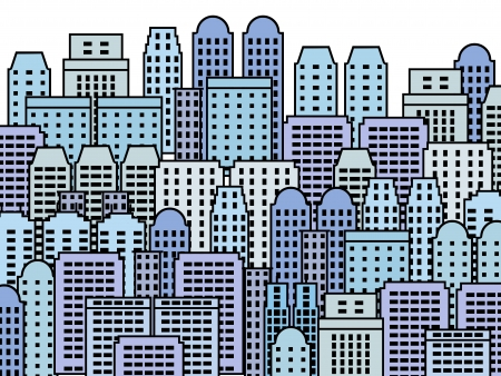 Blue city illustration - skyscrapers and modern buildings. Contemporary metropolis and urban landscape. Stock Vector - 18930648