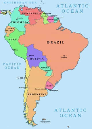 political division: Map of South America. Political division - countries and capital ciites. Countries are separate objects, you can change color of every country.