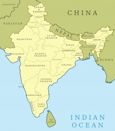 Map Of India Outline Illustration Country Map With Major Cities - Major cities of pakistan map