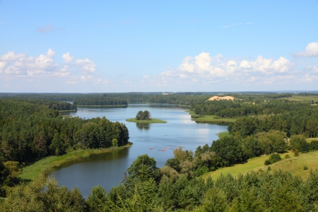 stare: Masuria (Mazury) - famous lake district in Poland. Summer landscape in Europe. Jedzelewo lake in Stare Juchy.
