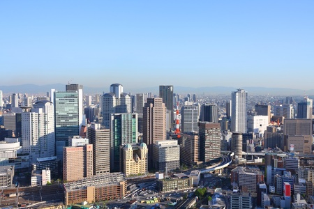 OSAKA, JAPAN - APRIL 27: Cityscape view on April 27, 2012 in Osaka, Japan. Osaka is the 3rd largest city in Japan (2.8 million people) with population of metro area reaching 19 million people.
