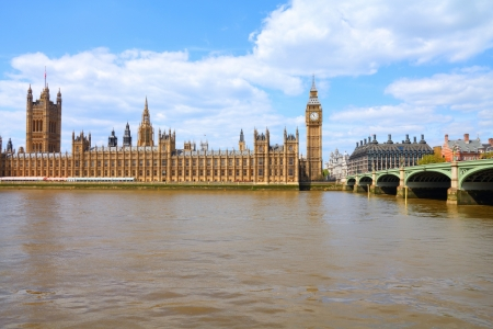 London, United Kingdom - Palace of Westminster (Houses of Parliament) with Big Ben clock tower.  photo
