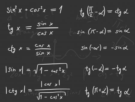 Hand written doodle illustration - Trigonometric functions. Mathematics scientific education.