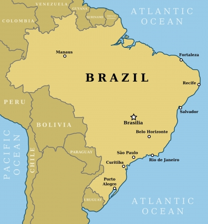 Map of Brazil. Country outline with 10 largest cities including Brasilia, capital city. Stock Vector - 19027867