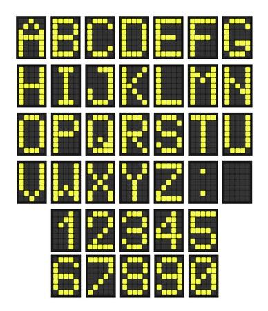 Font - Buchstaben und Zahlen imitiert eine digitale Anzeigetafel. Verwendbar für Flughafen-Zeitpläne, Zugfahrpläne usw. Illustration