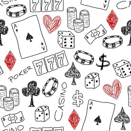 Doodle seamless background texture illustration - casino concepts with poker, dice and gambling. Stock Vector - 19109244