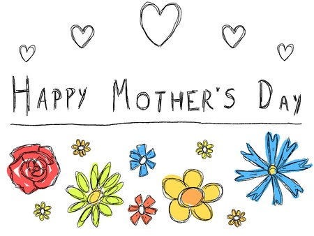 Happy Mothers Day - greeting card with doodle scrapbook flowers. Holiday celebration. Illustration