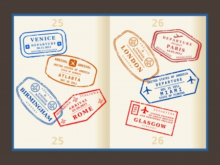 Various colorful visa stamps (not real) on passport pages. International business travel concept. Frequent flyer visas. Stock Vector - 19109239