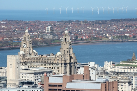 liverpool: Liverpool - city in Merseyside county of North West England (UK). Aerial view with famous Royal Liver Building and offshore wind farm.