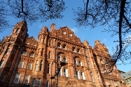 eclectic: Manchester - city in North West England (UK). Famous hotel built in eclectic Edwardian baroque architecture style. Listed building.