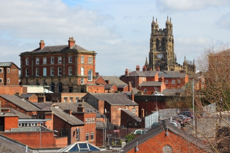 Stockport in North West England (UK). Part of Greater Manchester. Townscape with church.