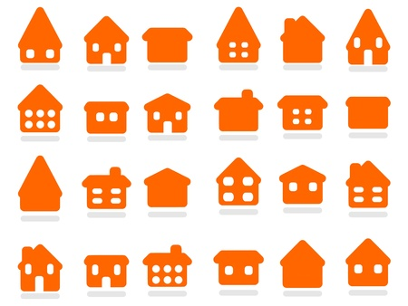 Home icon set - house rounded icon collection. Illustration group. Private residential architecture. Vector
