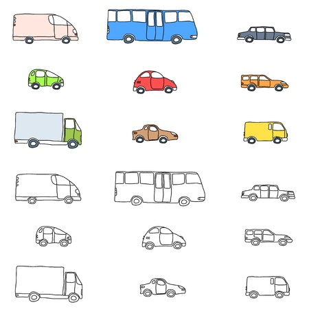 Doodle cartoon icon set - vehicle collection with cars, vans, trucks and a bus Vector