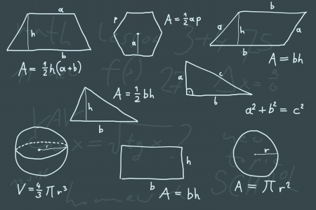 scribbling: Hand written doodle illustration - geometry formulas. Formulas for polygon area, triangle properties and other.