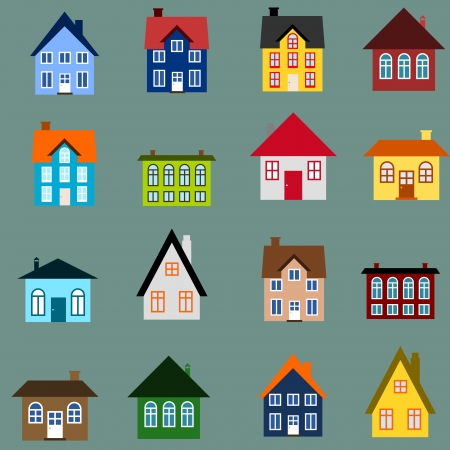 House set - colourful home icon collection. Illustration group. Private residential architecture. Vector