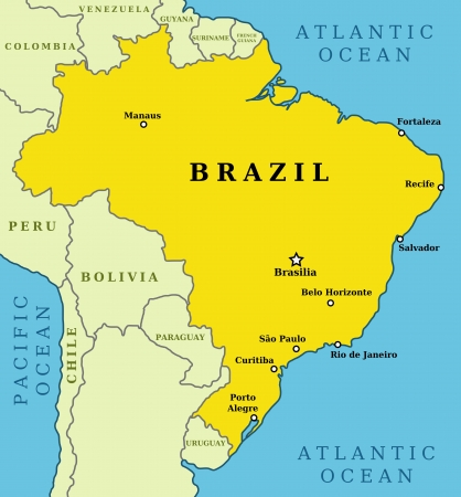 brasilia: Map of Brazil. Country outline with 10 largest cities including Brasilia, capital city.