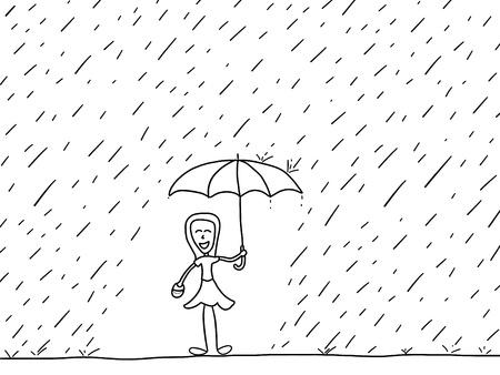 Cartoon doodle illustration - happy woman in the rain. Rainy weather. Stock Vector - 19974343
