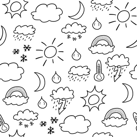 乱画无缝的背景纹理例证 - 天气标志汇集与太阳,云彩,风暴和雪
