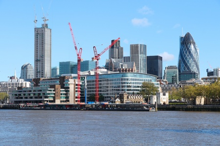 London skyline, United Kingdom - cityscape with modern buildings and construction cranes
