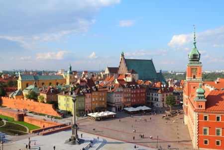 warszawa: Warsaw, Poland. Old Town view of Castle Square (Plac Zamkowy) Stock Photo