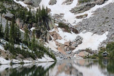 rocky mountain national park: Rocky Mountain National Park in Colorado, Stati Uniti d'America vista Emerald Lake Archivio Fotografico
