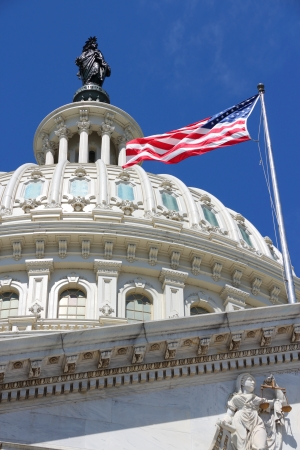 district of columbia: Washington DC, capital city of the United States  National Capitol building with US flag