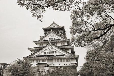 osakajo: Osaka, Japan - city in the region of Kansai. Osaka-jo castle in sepia tone.