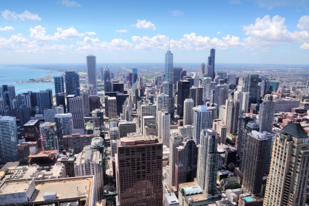Chicago, Illinois in the United States. City skyline with Lake Michigan. photo
