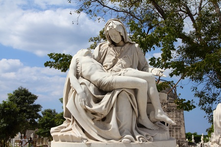 cristobal colon: Cuba - the main cemetery of Havana. Necropolis Cristobal Colon. Pieta theme monument.
