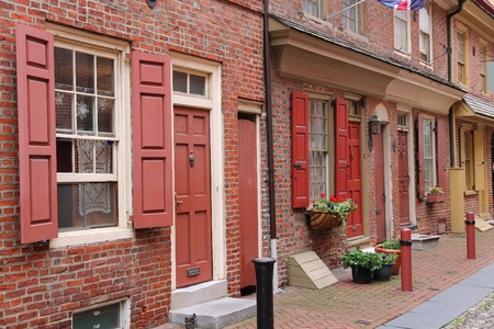 historic district: Philadelphia, Pennsylvania in the United States. Famous Elfreths Alley historic district, old landmark.