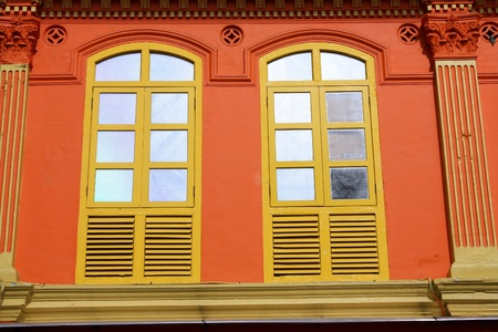 Chinatown district of Singapore, Asia - closed colorful windows