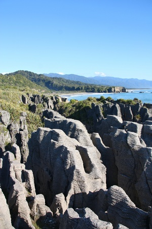 natural landmark: New Zealand - West Coast. Famous natural landmark in Paparoa National Park - Punakaiki or Pancake Rocks.