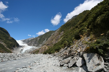 franz josef: New Zealand - Franz Josef Glacier in Westland National Park on the West Coast of South Island. Southern Alps mountains.