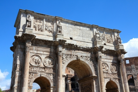 constantine: Italy - Rome. Famous triumphal arch - Arch of Constantine on Palatine Hill. Stock Photo