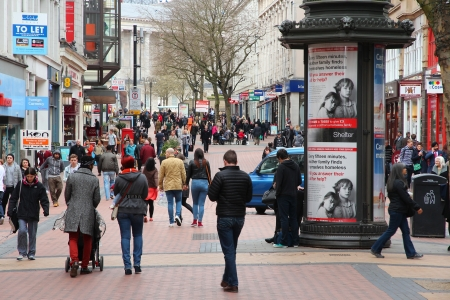 populous: BIRMINGHAM, UK - APRIL 19: People shop downtown on April 19, 2013 in Birmingham, UK. Birmingham is the most populous British city outside London with 1.07 million residents. Editorial