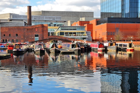 Birmingham water canal network - famous Gas Street Basin. West Midlands, England.