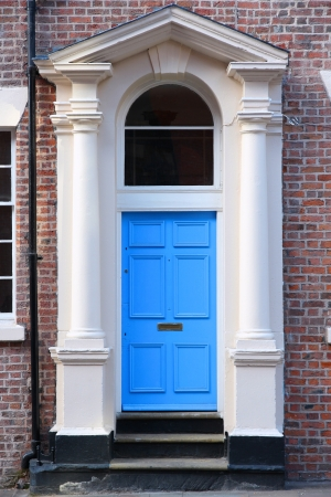 Liverpool - city in Merseyside county of North West England (UK). Old blue door, Georgian architecture style. photo
