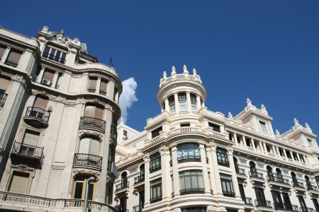 Gran Via street in Madrid, Spain. Famous ornamental architecture. photo