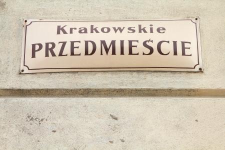 krakowskie przedmiescie: Street sign in the Old Town of Warsaw, Poland - famous Krakowskie Przedmiescie boulevard Stock Photo