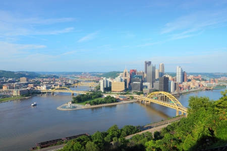 Pittsburgh, Pennsylvania - city in the United States. Skyline with Allegheny and Monongahela River. photo